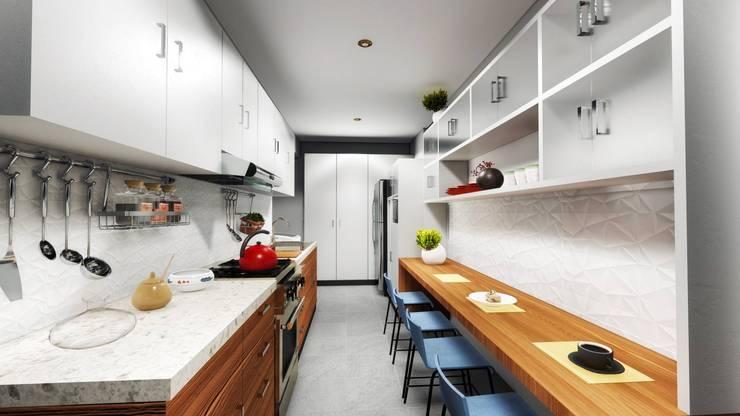 Diseño de una cocina moderna: Cocinas equipadas de estilo  por Minkarq. Arquitectura y construcción,