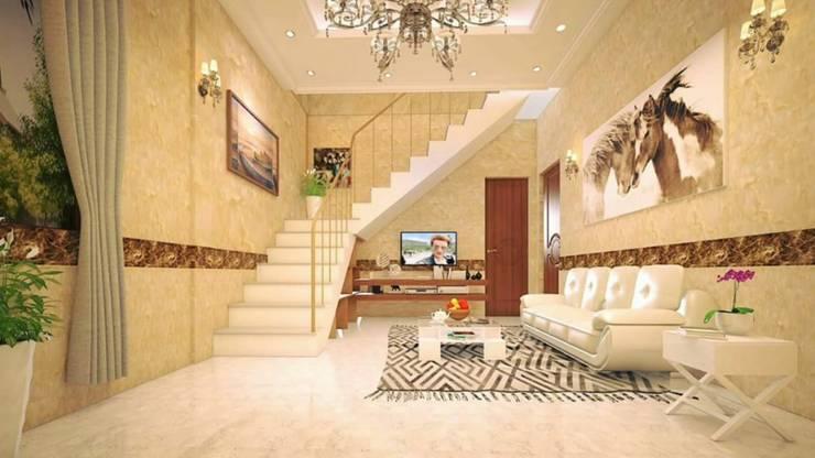 1. Dùng tấm ốp vân đá cho nhà ở hiện đại:  Artwork by Công ty TNHH truyền thông nối việt