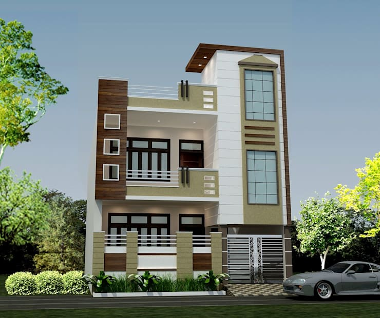 Modern Home Elevation Design: HPL (High Pressure Laminates) By