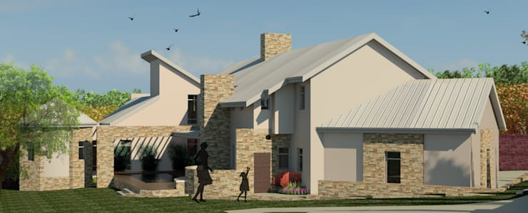 VIEW FROM SOUTH EAST:  Houses by Nuclei Lifestyle Design