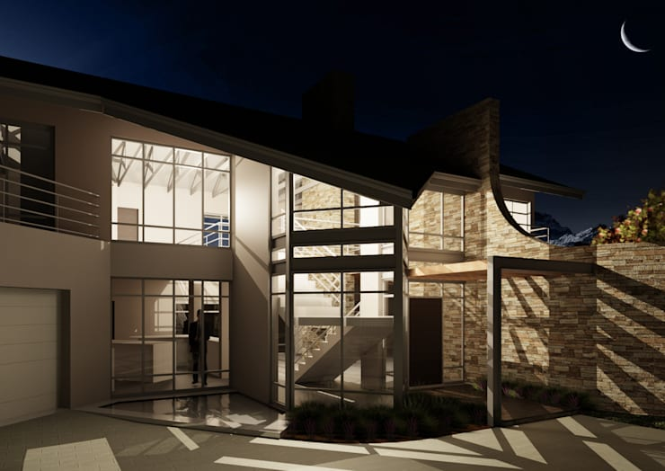 NIGHT VIEW OF MAIN ENTRANCE AND STAIRS:  Bungalows by Nuclei Lifestyle Design, Modern