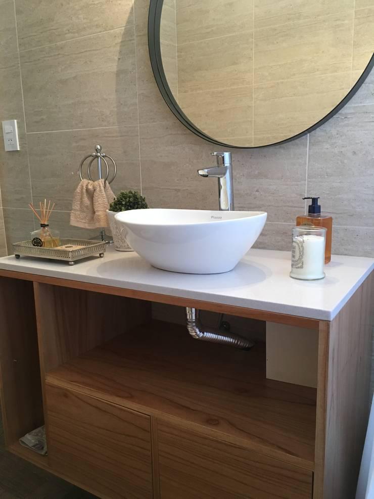 Baños de estilo  por Estudio Qpi , Moderno Madera Acabado en madera
