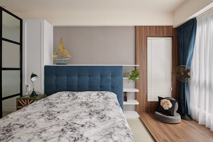 北歐風的大男孩房:  臥室 by 趙玲室內設計