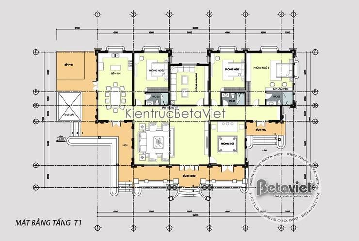 Mặt bằng tầng 1 mẫu nhà vườn 1 tầng đẹp nhà ông Dưởng -  Bến Tre KT18092:   by Công Ty CP Kiến Trúc và Xây Dựng Betaviet