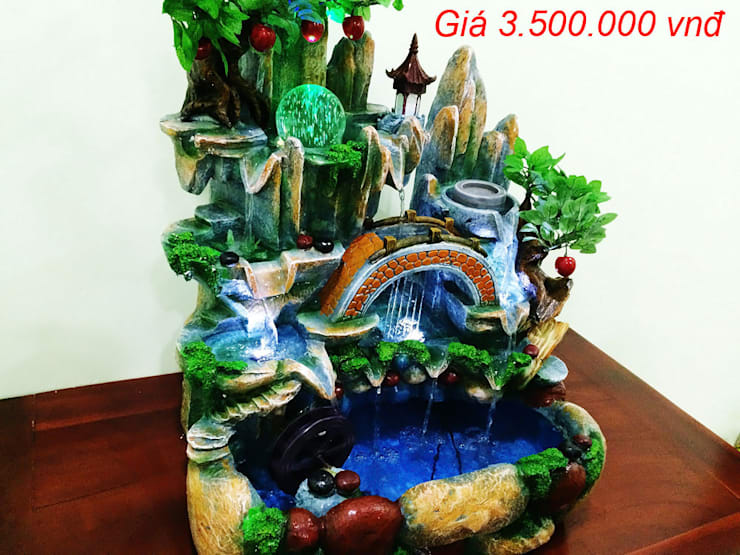 Hòn Non Bộ Mini - Thác Nước Phong Thủy Mẫu 18:  Living room by Shopgiake