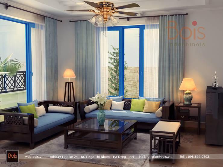 Sofa gỗ:  Living room by Công ty TNHH tư vấn thiết kế kiến trúc và nội thất Bois