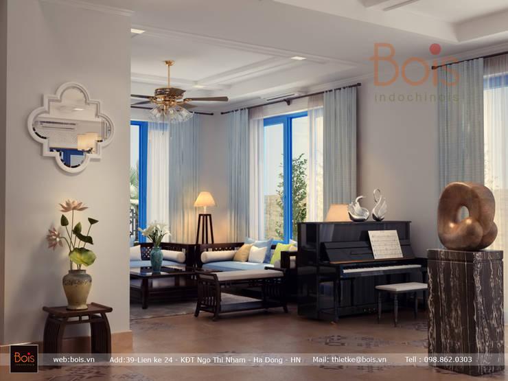 Thiết kế nội thất biệt thự Park River Ecopark:  Living room by Công ty TNHH tư vấn thiết kế kiến trúc và nội thất Bois