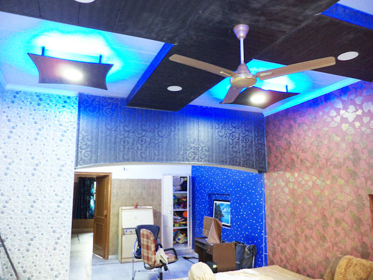 Interior Project completed:  Living room by Mohali Interiors,Modern