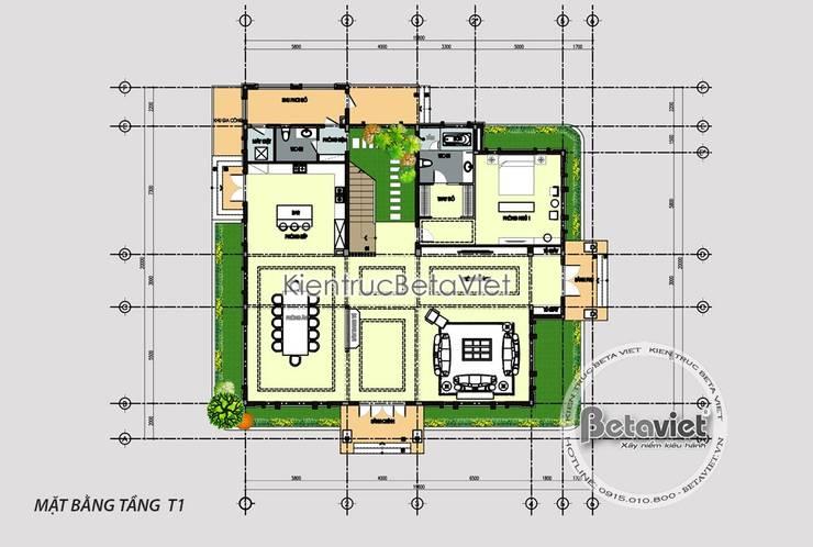 Mặt bằng tầng 1 mẫu biệt thự Hiện đại 2 tầng (CĐT: Ông Đạt – Phú Quốc) KT18096:   by Công Ty CP Kiến Trúc và Xây Dựng Betaviet