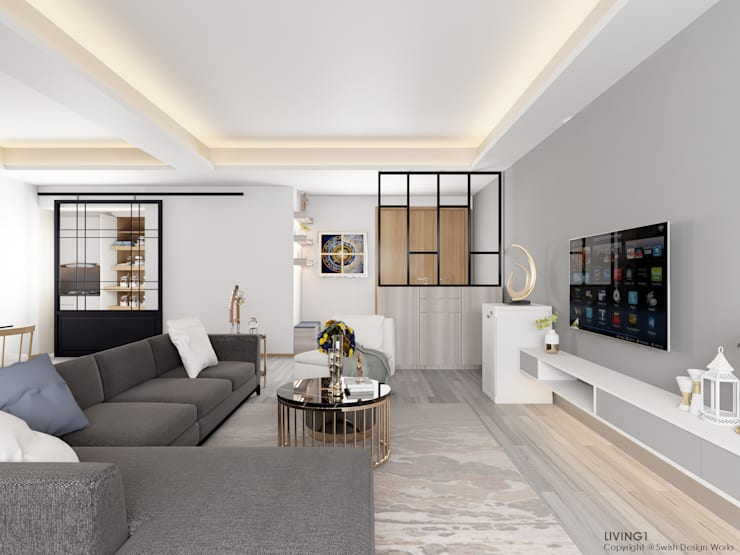 Compassvale Lane:  Living room by Swish Design Works