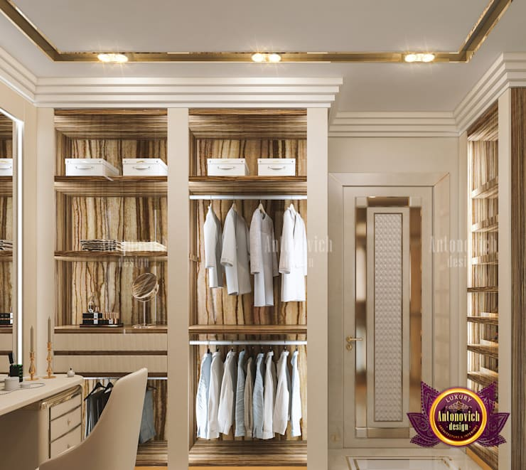 Sleek Luxury Closet Interior Design:   by Luxury Antonovich Design