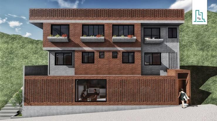 Construcción de una vivienda - Fachada: Casas multifamiliares de estilo  por Minkarq. Arquitectura y construcción