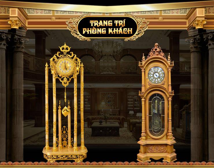 Mẫu đồng hồ cây phù hợp trang trí phòng khách:  Living room by Cửa Hàng Đồng Hồ Cây, Tủ Cổ, Treo Tường Và Để Bàn