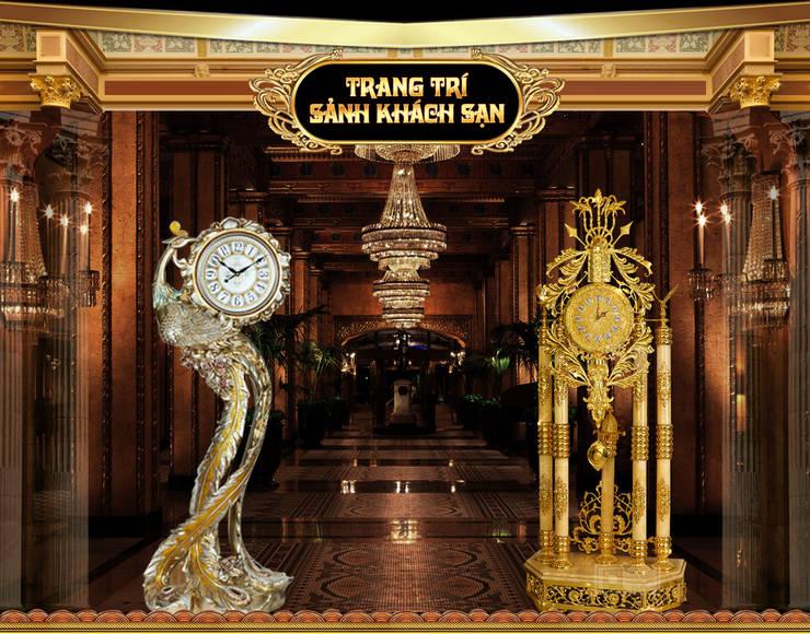 Kiểu đồng hồ cây trang trí sảnh khách sạn:  Living room by Cửa Hàng Đồng Hồ Cây, Tủ Cổ, Treo Tường Và Để Bàn
