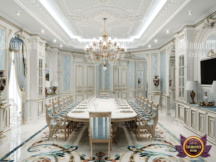 "Noclassical Dining Room: {:asian=>""asian"", :classic=>""classic"", :colonial=>""colonial"", :country=>""country"", :eclectic=>""eclectic"", :industrial=>""industrial"", :mediterranean=>""mediterranean"", :minimalist=>""minimalist"", :modern=>""modern"", :rustic=>""rustic"", :scandinavian=>""scandinavian"", :tropical=>""tropical""}  by Luxury Antonovich Design,"
