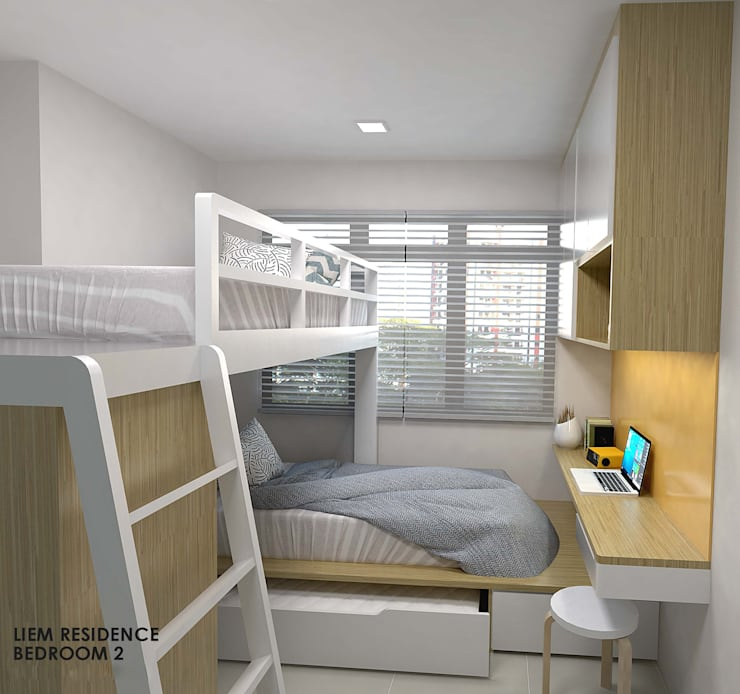 Buangkok Link:  Small bedroom by Swish Design Works,Minimalist