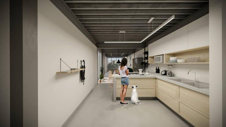 cocina - comedor - sala: Cocinas de estilo  por idA Arquitectos