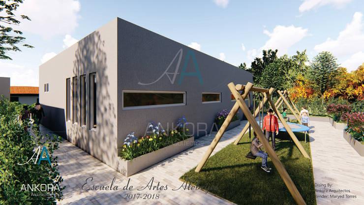 fachada Estudios y despachos de estilo moderno de ANKORA ARQUITECTOS Moderno Concreto