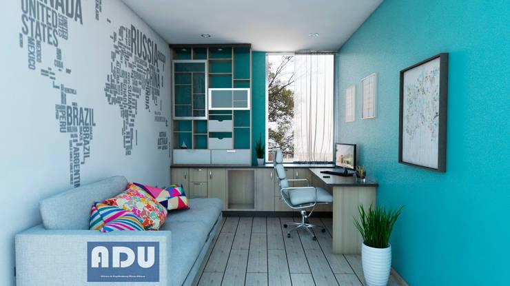 Oficina en Casa: Estudios y despachos de estilo  por ADU ARQUITECTOS