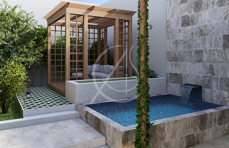 Modern Classic Landscape Design :  Garden by Comelite Architecture, Structure and Interior Design