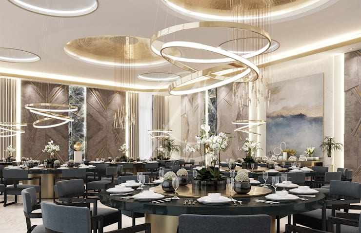 Luxury Modern Palace Guest House:  Dining room by Comelite Architecture, Structure and Interior Design ,