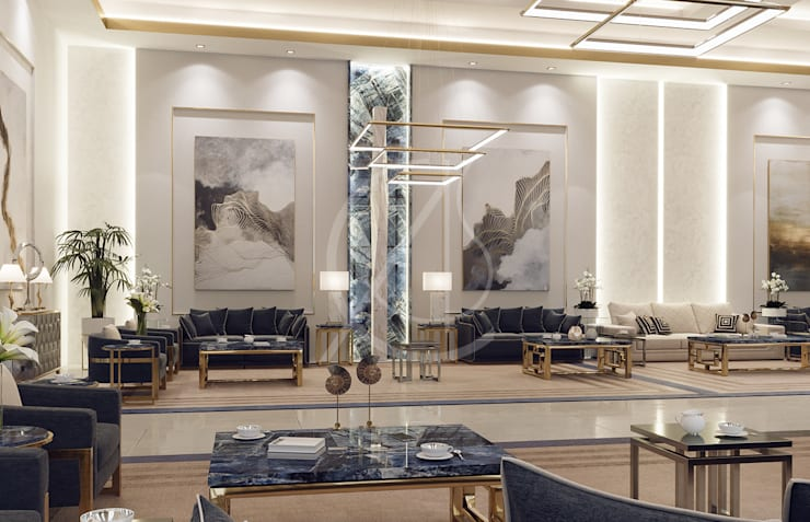 Luxury Modern Palace Guest House:  Living room by Comelite Architecture, Structure and Interior Design ,
