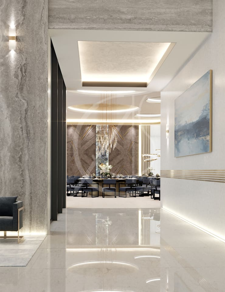 Luxury Modern Palace Guest House:  Corridor & hallway by Comelite Architecture, Structure and Interior Design ,