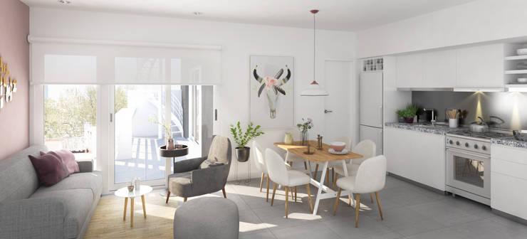 Interior Depto Caballito:  de estilo  por Renders + Arquitectura