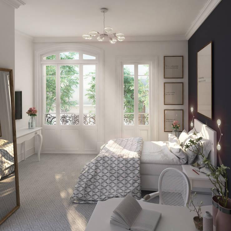 Dormitorio Caballito:  de estilo  por Renders + Arquitectura