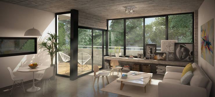 Departamento Colegiales:  de estilo  por Renders + Arquitectura