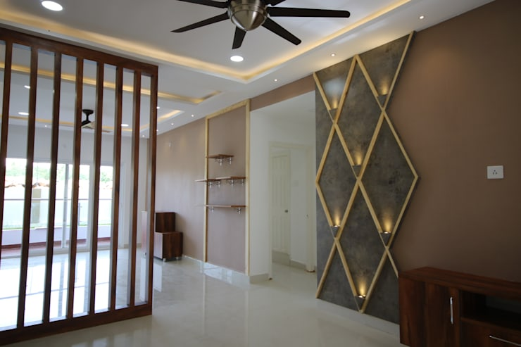 Living - Dining - Partition:  Living room by Enrich Interiors & Decors
