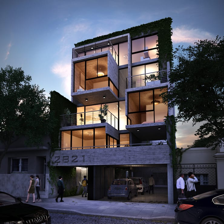 Edificio en Colegiales:  de estilo  por Renders + Arquitectura,