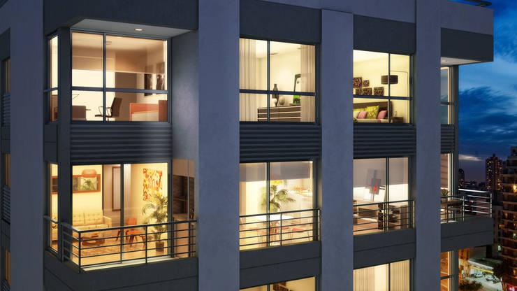 Detalle Fachada San Miguel:  de estilo  por Renders + Arquitectura,