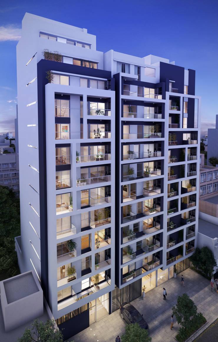 Edificios Caballito Ferro:  de estilo  por Renders + Arquitectura,