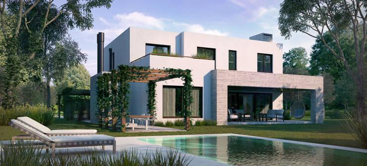 Contrafrente Casa Santa Catalina:  de estilo  por Renders + Arquitectura