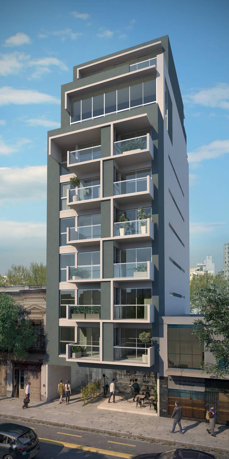 Frente Edificio Carlos Calvo:  de estilo  por Renders + Arquitectura