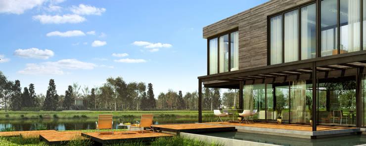 Exterior Casa Zona Norte:  de estilo  por Renders + Arquitectura