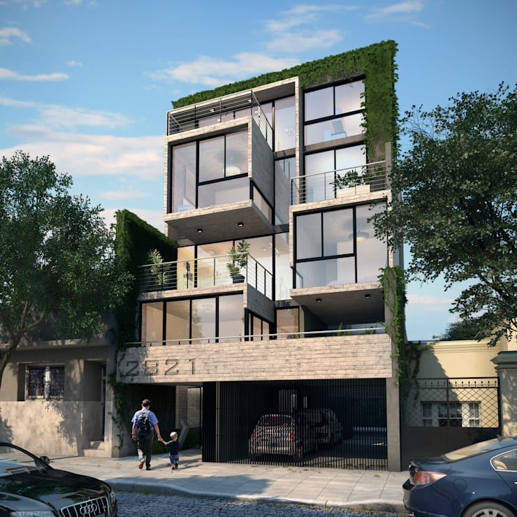 Fachada Edificio Calegiales:  de estilo  por Renders + Arquitectura