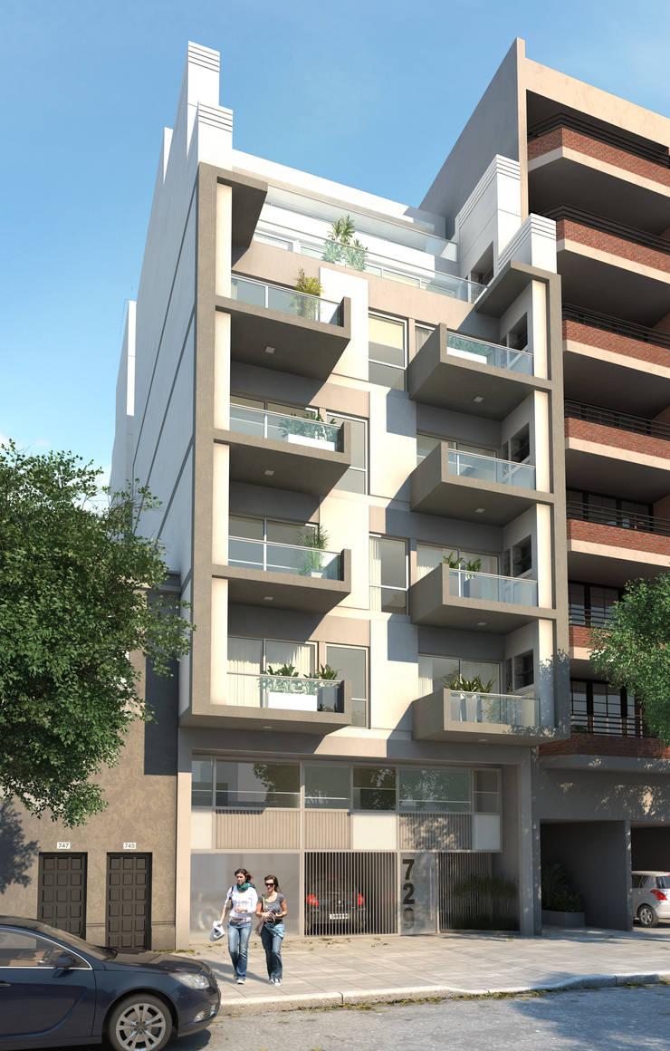 Frente Exterior Edificio Paternal:  de estilo  por Renders + Arquitectura