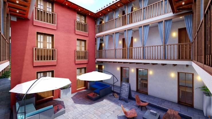 Restauración y Obra Nueva Hotel Boutique: Pasillos y vestíbulos de estilo  por FRANCO CACERES / Arquitectos & Asociados