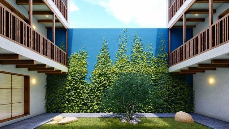 Restauración y Obra Nueva Hotel Boutique: Jardines en la fachada de estilo  por FRANCO CACERES / Arquitectos & Asociados