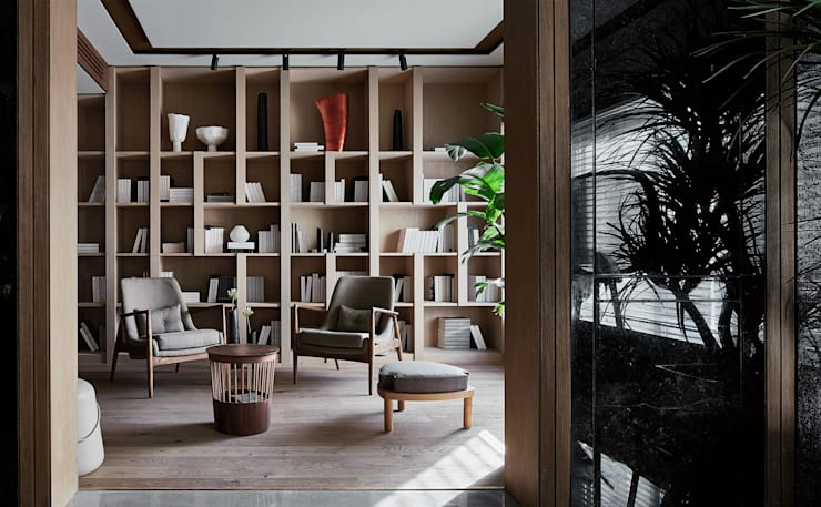 STUDY ROOM:  Study/office by ARCHISTRY design&research office