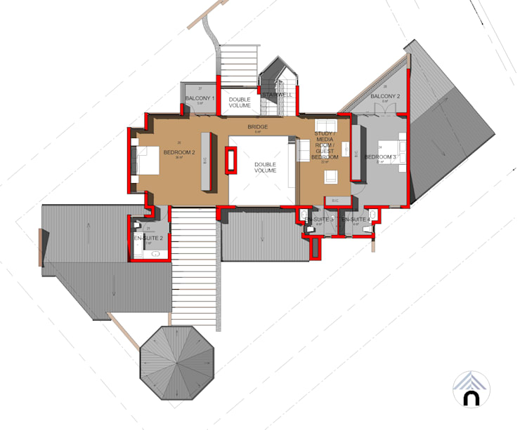 FIRST FLOOR PLAN:  Houses by Nuclei Lifestyle Design, Modern