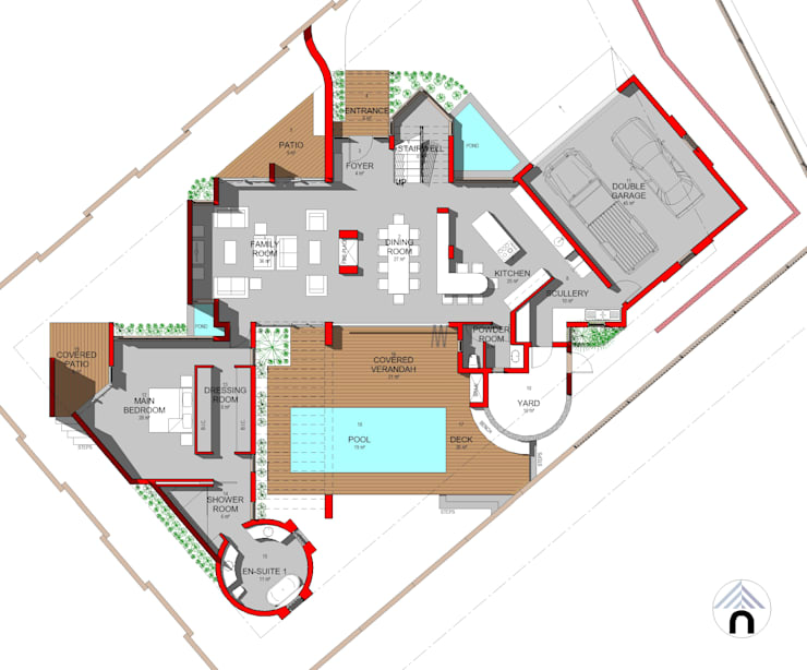 GROUND FLOOR PLAN:  Houses by Nuclei Lifestyle Design, Modern