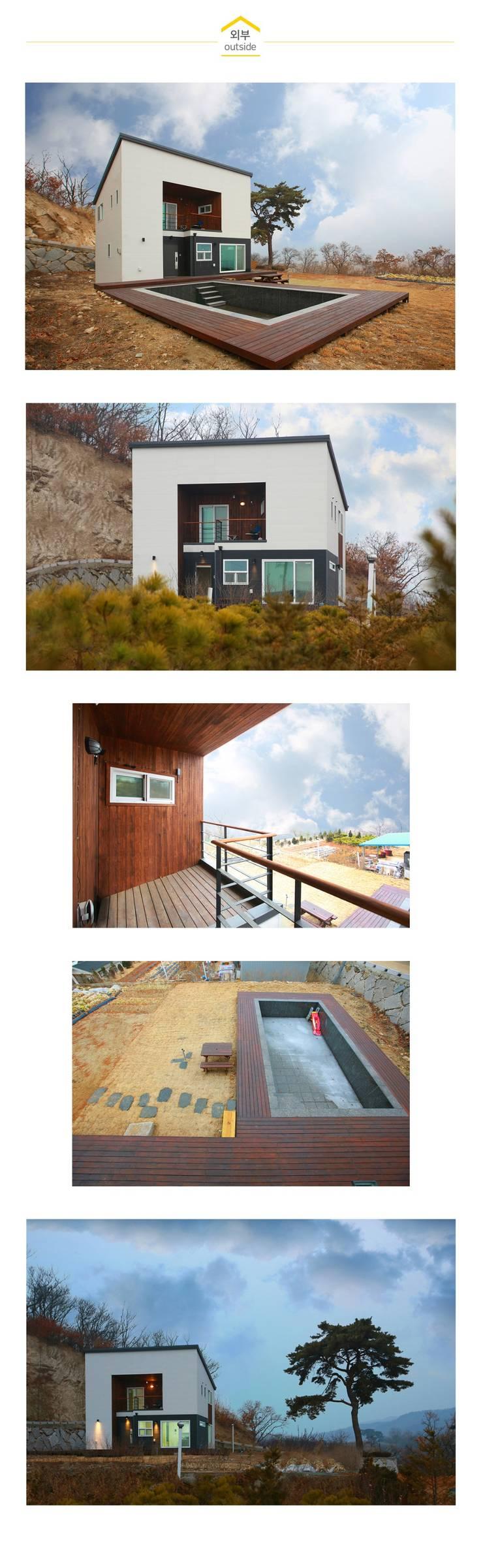 수영장 있는 펜션같은 전원주택_외관: 공간제작소(주)의  주택