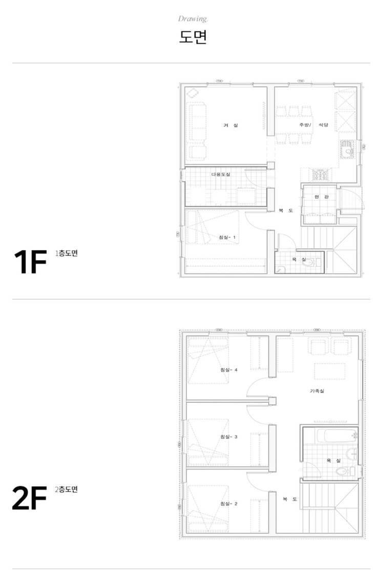 동네에서 최초로 지열보일러를 보유한 집_도면: 공간제작소(주)의  거실,