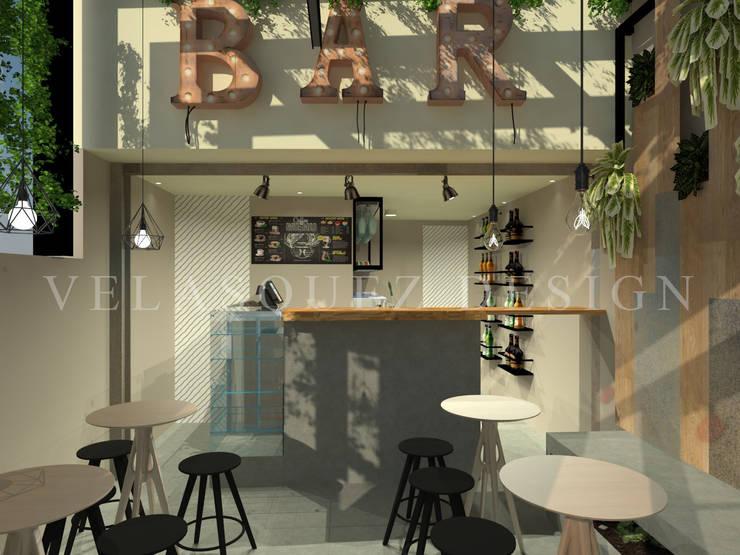 Cafe-Bar Calle64: Espacios comerciales de estilo  por Johana Velásquez , Industrial
