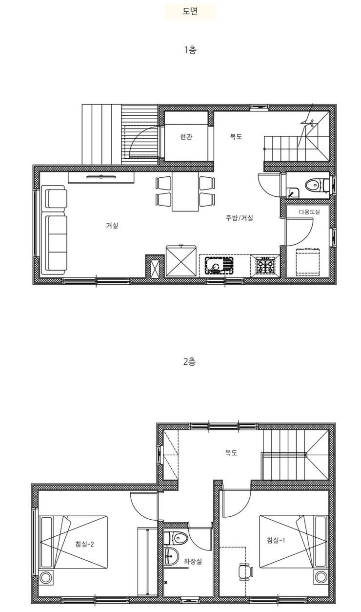 가족의 사랑이 느껴지는 전원주택_도면: 공간제작소(주)의  목조 주택