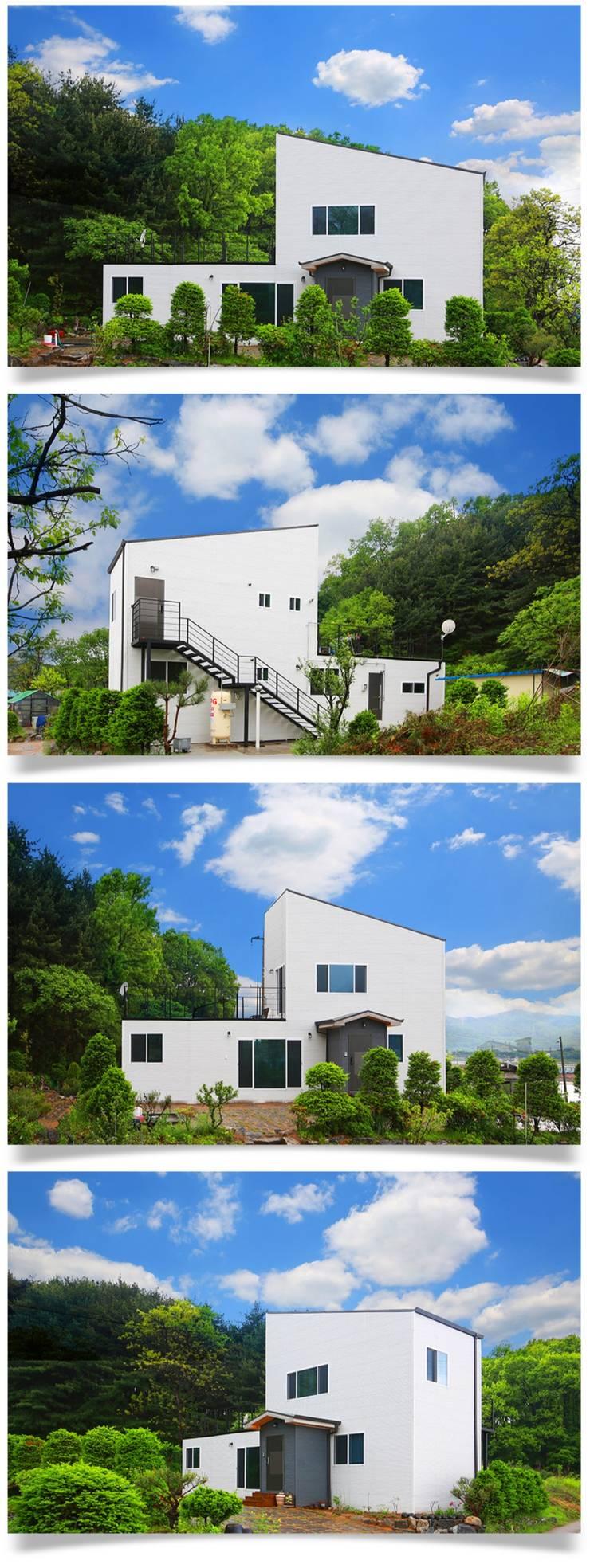 자연과 동화되는 농가주택, 동선을 고려한 설계_외관: 공간제작소(주)의  목조 주택,