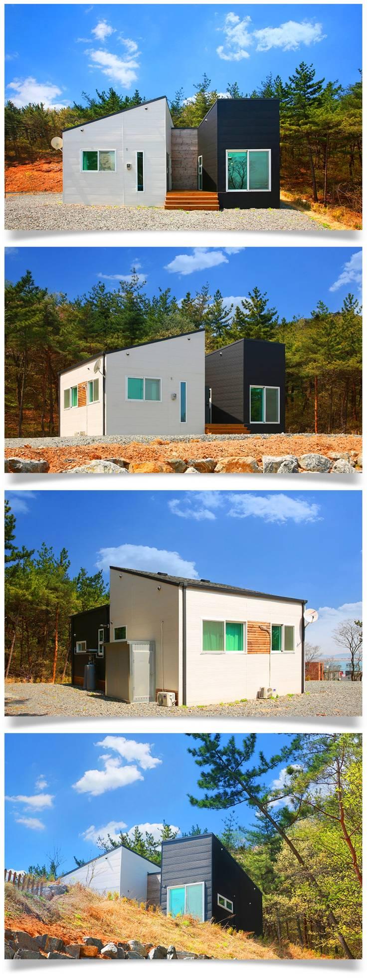 Chalets & maisons en bois de style  par 공간제작소(주), Moderne Céramique